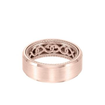 ArtCarved 8MM Men's Contemporary Wedding Band - Bright Brush Finish and Bevel Edge with Inside Infinity Pattern and Rope Edge in 14k Rose Gold