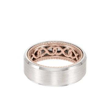ArtCarved 8MM Men's Contemporary Wedding Band - Bright Brush Finish and Bevel Edge with Inside Infinity Pattern and Rope Edge in 14k White and Rose Gold