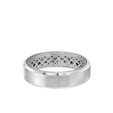 ArtCarved 6MM Men's Contemporary Wedding Band - Satin Finish and Bevel Edge with Inside Net Pattern with Rope Edge in 18k White Gold
