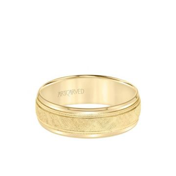 ArtCarved 7MM Men's Classic Wedding Band - Etched Finish with Milgrain and Bevel Edge in 18k Yellow Gold