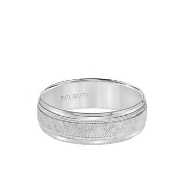 ArtCarved Platinum 7MM Men's Classic Wedding Band - Etched Finish with Milgrain and Bevel Edge