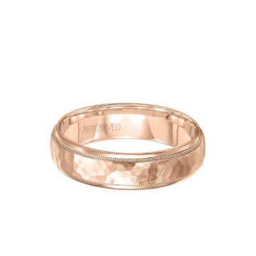 ArtCarved 6MM Men's Wedding Band - Hammered Satin Finish and Round Edge in 18k Rose Gold