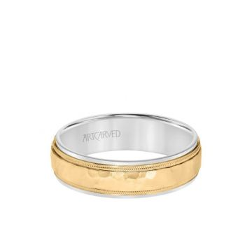 ArtCarved 6MM Men's Classic Two Tone Wedding Band - Hammered Finish with Milgrain Detail and Step Edge in 14k White and Yellow Gold