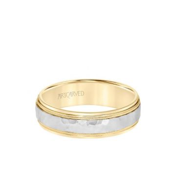 ArtCarved 6MM Men's Classic Two Tone Wedding Band - Hammered Finish with Milgrain Detail and Step Edge in 14k Yellow and White Gold