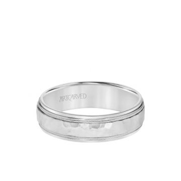 ArtCarved 6MM Men's Classic Two Tone Wedding Band - Hammered Finish with Milgrain Detail and Step Edge in 18k White Gold
