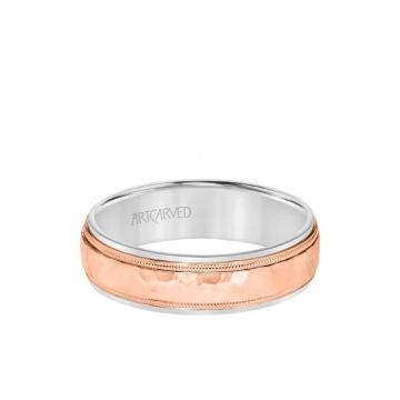 ArtCarved 6MM Men's Classic Two Tone Wedding Band - Hammered Finish with Milgrain Detail and Step Edge in 14k White and Rose Gold