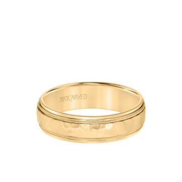 ArtCarved 6MM Men's Classic Two Tone Wedding Band - Hammered Finish with Milgrain Detail and Step Edge in 18k Yellow Gold