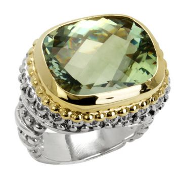 Alwand Vahan 14k Gold & Sterling Silver Diamond and Green Amethyst Ring