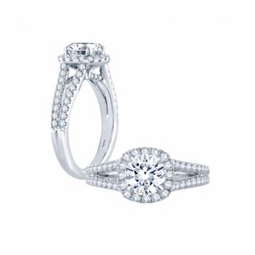Fire & Ice Evelyn Diamond Halo Engagement Ring