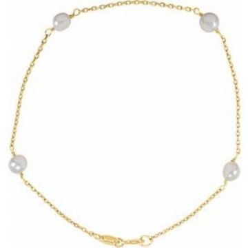 """14K Yellow 4-4.5 mm  Freshwater Cultured Pearl Youth 6"""" Bracelet"""
