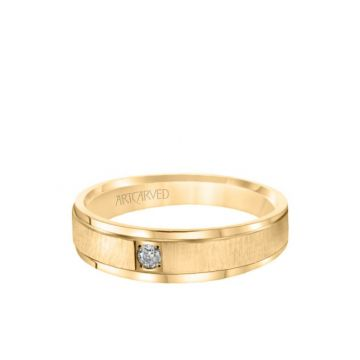 ArtCarved 6MM Men's Classic Single Stone Diamond Wedding Band -  Vertical Brush Finish and Rolled Edge in 14k Yellow Gold