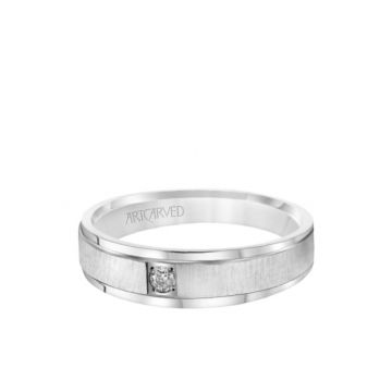 ArtCarved 6MM Men's Classic Single Stone Diamond Wedding Band -  Vertical Brush Finish and Rolled Edge in 18k White Gold