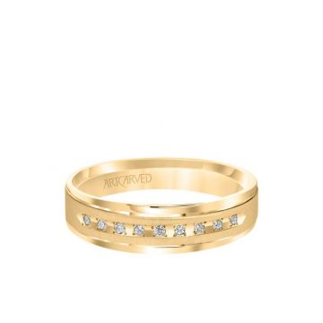 ArtCarved 6MM Men's Classic Nine Stone Diamond Wedding Band - Vertical Brush Finish and Rolled Edge in 14k Yellow Gold