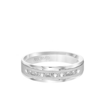 ArtCarved 6MM Men's Classic Nine Stone Diamond Wedding Band - Vertical Brush Finish and Rolled Edge in 14k White Gold