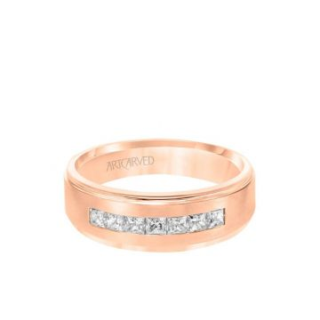 ArtCarved 7MM Men's Contemporary Seven Stone Diamond Wedding Band - Brush Finish and Step Edge in 14k Rose Gold