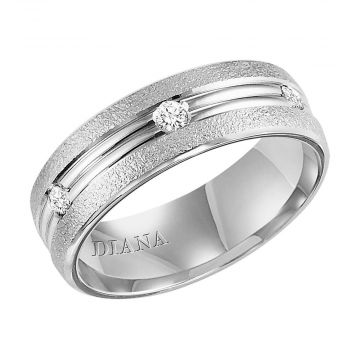 Diana 14K White Gold Soft Sand Finish and Diamond Detail Engraved Comfort Fit Wedding Band