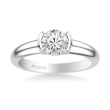 ArtCarved Rachel Contemporary Solitaire Bezel Diamond Engagement Ring in 14k White Gold
