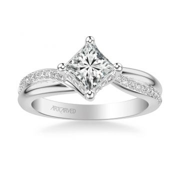 ArtCarved Stella Contemporary Side Stone Twist Diamond Engagement Ring in 18k White Gold