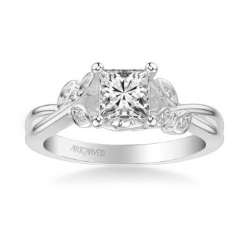 ArtCarved Corinne Contemporary Side Stone Floral Diamond Engagement Ring in 18k White Gold