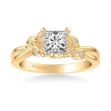 ArtCarved Corinne Contemporary Side Stone Floral Diamond Engagement Ring in 18k Yellow Gold