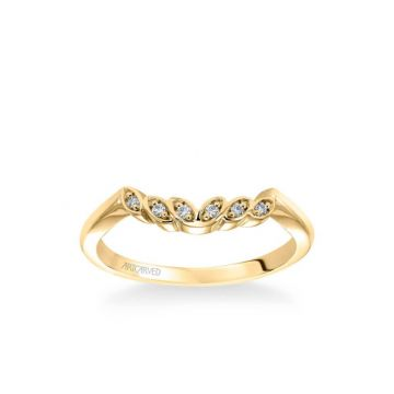 ArtCarved Corinne Contemporary Diamond Petal and Polished Curved Wedding Band in 18k Yellow Gold