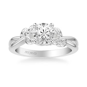 ArtCarved Platinum Corinne Contemporary Side Stone Floral Diamond Engagement Ring