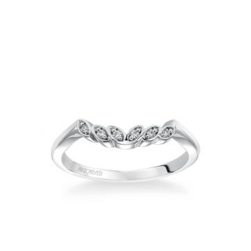 ArtCarved Platinum Corinne Contemporary Diamond Petal and Polished Curved Wedding Band