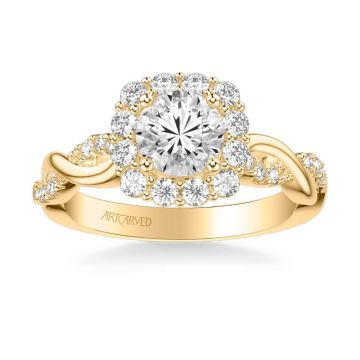 ArtCarved Bella Contemporary Cushion Halo Round Center Twist Diamond Engagement Ring in 14k Yellow Gold