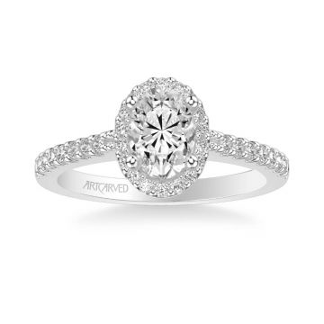 ArtCarved Kate Classic Oval Halo Diamond Engagement Ring in 18k White Gold