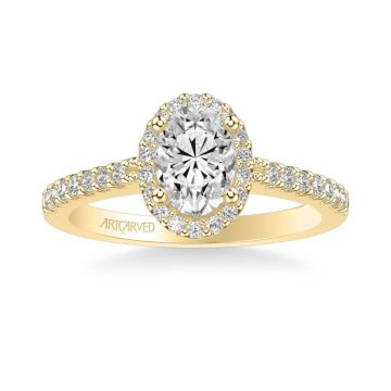 ArtCarved Kate Classic Oval Halo Diamond Engagement Ring in 18k Yellow Gold