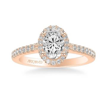 ArtCarved Kate Classic Oval Halo Diamond Engagement Ring in 14k Rose Gold