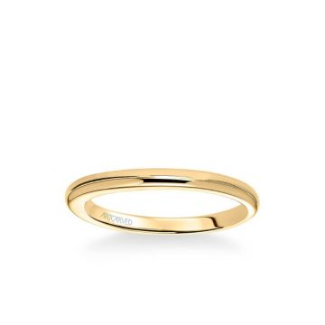 ArtCarved April Contemporary Polished Wedding Band in 18k Yellow Gold