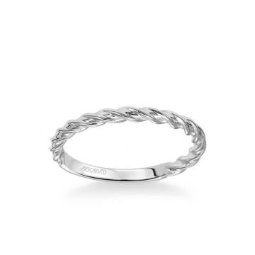 ArtCarved Joanna Contemporary Polished Rope Wedding Band in 18k White Gold