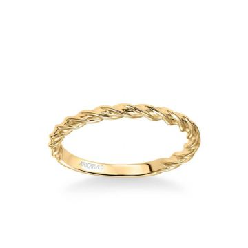 ArtCarved Joanna Contemporary Polished Rope Wedding Band in 14k Yellow Gold