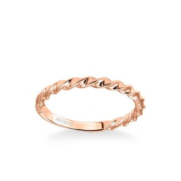ArtCarved Jolie Contemporary Polished Rope Wedding Band in 14k Rose Gold