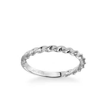 ArtCarved Jolie Contemporary Polished Rope Wedding Band in 18k White Gold