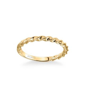 ArtCarved Jolie Contemporary Polished Rope Wedding Band in 18k Yellow Gold