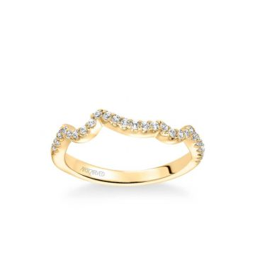 ArtCarved Thalia Contemporary Diamond Curved Wedding Band in 14k Yellow Gold