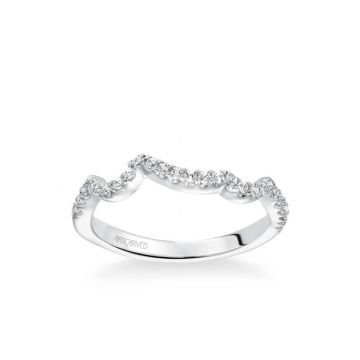 ArtCarved Thalia Contemporary Diamond Curved Wedding Band in 18k White Gold