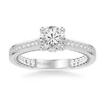 ArtCarved Keira Contemporary Side Stone Rope Diamond Engagement Ring in 18k White Gold