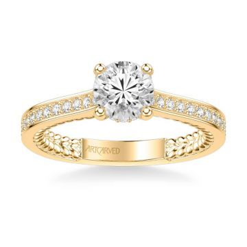 ArtCarved Keira Contemporary Side Stone Rope Diamond Engagement Ring in 18k Yellow Gold