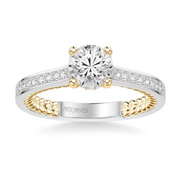 ArtCarved Keira Contemporary Side Stone Rope Diamond Engagement Ring in 14k White and Yellow Gold