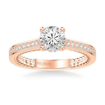 ArtCarved Keira Contemporary Side Stone Rope Diamond Engagement Ring in 14k Rose Gold