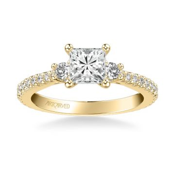 ArtCarved Jill Classic Three Stone Diamond Engagement Ring in 18k Yellow Gold