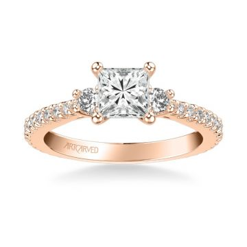 ArtCarved Jill Classic Three Stone Diamond Engagement Ring in 18k Rose Gold