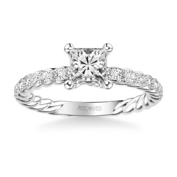 ArtCarved Platinum Wren Contemporary Side Stone Rope Diamond Engagement Ring