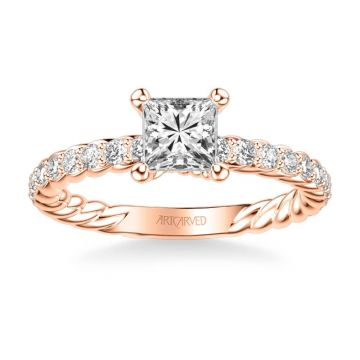 ArtCarved Wren Contemporary Side Stone Rope Diamond Engagement Ring in 18k Rose Gold