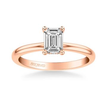 ArtCarved Kit Classic Solitaire Diamond Engagement Ring in 14k Rose Gold