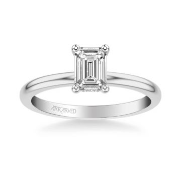 ArtCarved Kit Classic Solitaire Diamond Engagement Ring in 18k White Gold
