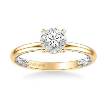 ArtCarved Beryl Lyric Collection Classic Solitaire Diamond Engagement Ring in 14k Yellow and White Gold